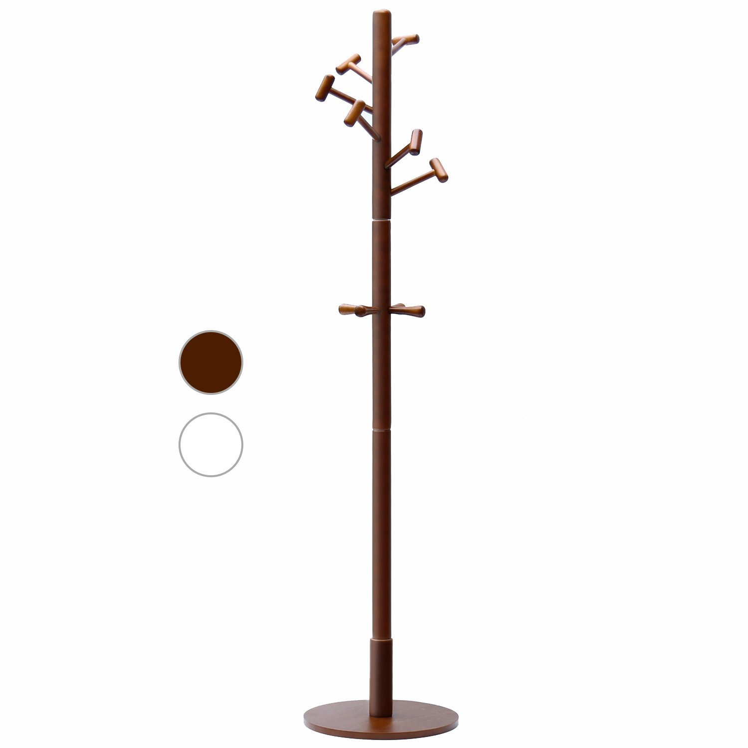 LCH Wood Standing Coat Rack Hall Tree Coat Tree with 10 Hammer Shaped Hooks, Coffee