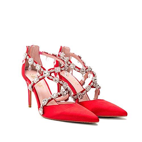 Prinsesse Sko Bryllup Pegede Sexede Banket Høje Hæle Nbwe Røde Sandaler Krystal Brude q7X7Spw