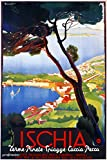 Ischia Volcanic Island in the Tyrrhenian Sea Gulf of Naples 14'' X 22'' Image Size Vintage Poster Reproduction