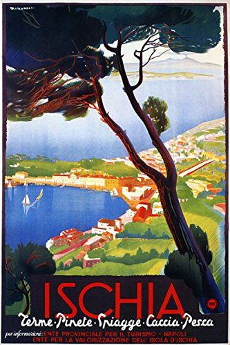 Ischia Volcanic Island in the Tyrrhenian Sea Gulf of Naples 14'' X 22'' Image Size Vintage Poster Reproduction by Heritage Posters