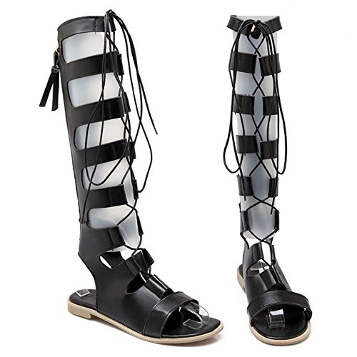 Sandali Donna Black Alto Tacco Basse Gladiatore TAOFFEN wHtq0zq