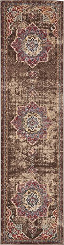 Vintage Inspired Overdyed Distressed Fancy Chocolate Brown 2' 7 x 10' FT (79cm x 305cm) Runner St. James Medallion Area Rug Traditional Persian Design