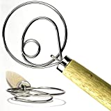 """The Original Danish Dough Whisk - LARGE 13.5"""" Stainless Steel Dutch Style bread dough whisk for pastry, pizza. Great alternatives to a blender, mixer or hook"""
