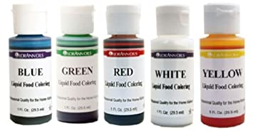 LorAnn Liquid Food Coloring - Primary Water Based Colors - Set of Five 1 oz  Bottles
