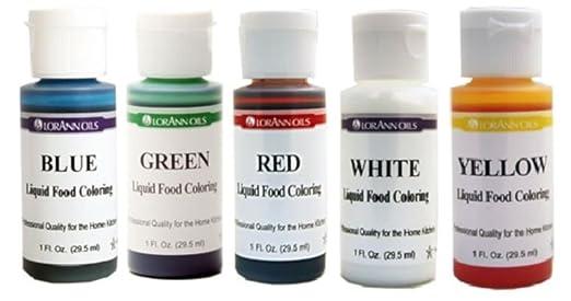 LorAnn Liquid Food Coloring - Primary Water Based Colors - Set of Five 1 oz  Bottles