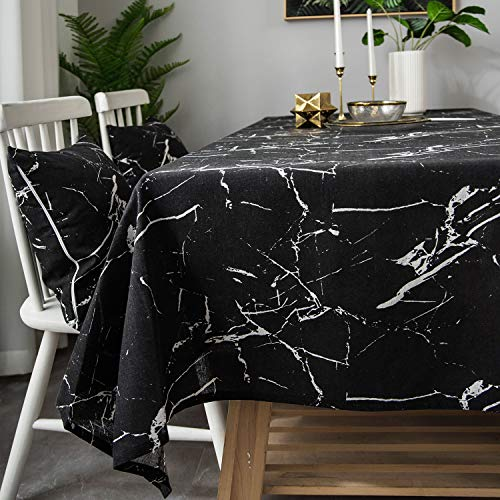 LINENLUX Stylish Square Rectangular Tablecloth/Table Cover for Kitchen Dinning Tabletop Decoration Black(Marble Vein) Square/Round 55 X 55 in (Tops Marble Round Table)