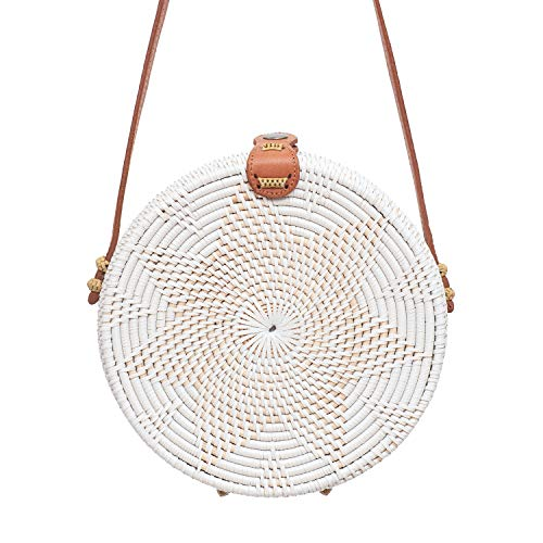 (Rattan Bags for Women - Handmade Wicker Woven Purse Handbag Circle Boho Bag)