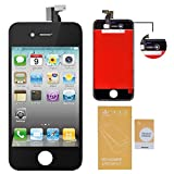 iphone 4 front glass digitizer - WEELPOWER LCD Touch Screen Digitizer Glass Replacement Assembly for iPhone 4 (GSM Version)with Repair Tool (Black)