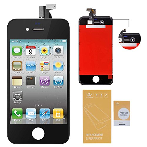 WEELPOWER LCD Touch Screen Digitizer Glass Replacement Assembly for iPhone 4 (GSM Version)with Repair Tool (Black)