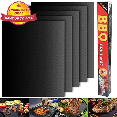 Barbecue mat (Set of 5), Grilldom and Reusable BBQ Grill Mat, Teflon Non-stick 0.2mm, 40x33cm by Grilldom