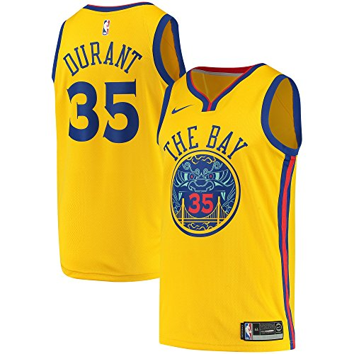 (NIKE Kevin Durant Golden State Warriors Swingman City Edition Gold Jersey - Men's 3XL (XXX-Large))
