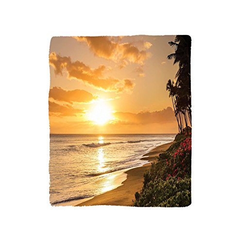 VROSELV Custom Blanket Hawaiian Collection Warm Tropical Sunset On Sands Of Kaanapali Beach In Maui Hawaii Destination For Travel Soft Fleece Throw Blanket