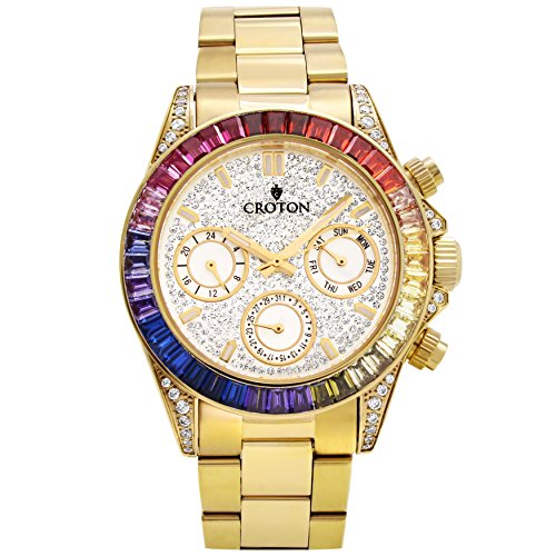 Croton Men's Goldtone Multi-function Watch with Multi-col...