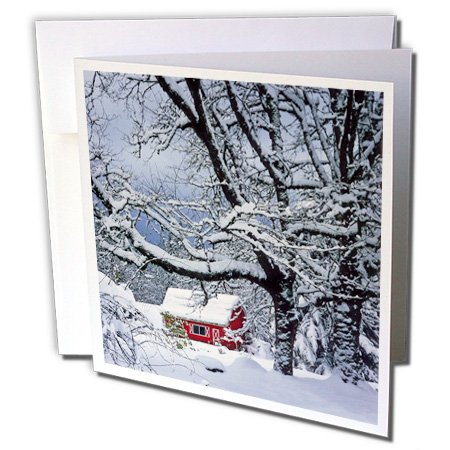 Oregon, Clackamas County. Fresh snow, red barn - Greeting Cards, 6 x 6 inches, set of 12 (gc_93456_2)