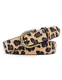 JASGOOD Leopard Print Leather Belt for Women Jeans Pants Waist Belt for Dresses, Suit Pants Size 29-34 Inches, A-Leopard with Fur