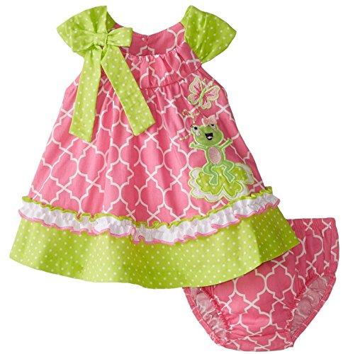 Bonnie Baby Baby Girls' Newborn Frog Appliqued Float Sundress, Pink, 3-6 Months ()