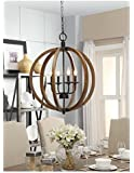 Contemporary Metal And Wood Frame Orb Chandelier