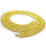 14K Gold Plated Canary 4 ROW Crystal Simulated Clear Diamond Necklace, 36 inches