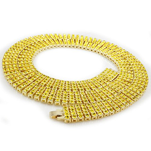 14K Gold Plated Canary 4 ROW Crystal Simulated Clear Diamond Necklace, 30 (Canary Crystal)