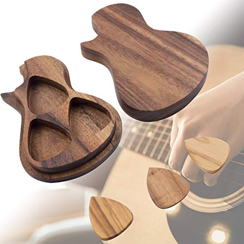 Guitar Pick Holder with 3 Guitar Pick, Wooden Guitar Pick Case Box Custom Guitar Picks, Personalized Guitar Wooden Box Holder Music Valentine's Day Gift for Men, Women, Guitar & Bass Accessories