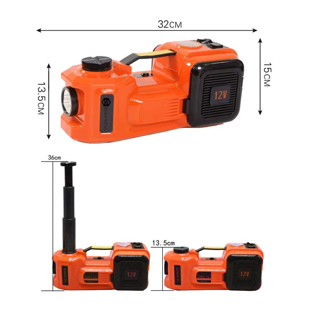 MRCARTOOL Cric de Voiture /électrique 12V DC 5.0T Pompe de gonflage de Pneu et Lampe de Poche /à Del 3 en 1 avec Un Marteau s/ûr Ensemble Complet de cric de Voiture /électrique 11023lb