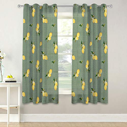 KGORGE Faux Linen Sheer Curtain, Summer Lemons Pattern with Floral Leaves Farmhouse Curtains, Light Filtering for Kitchen/Cafe, W 52 x L 63 inch Each, 2 Panels, Nile Green Background