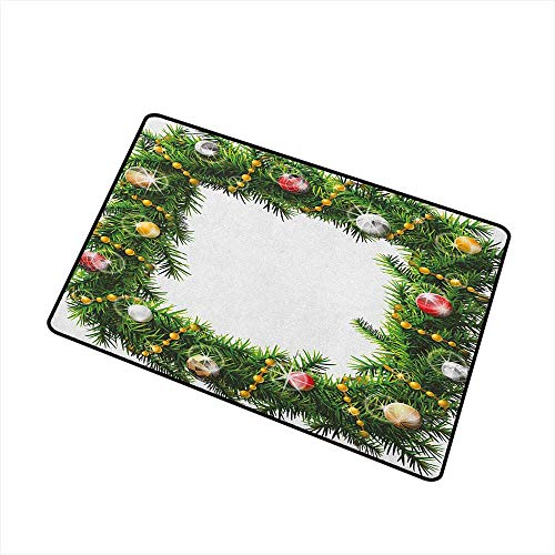 - Christmas Pet Doormat Square Wreath with Beads and Balls in Winter Season Holiday Celebration Print Easy Clean Rugs 20