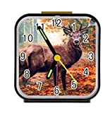 Dong Cun Bai Woods Deer Alarm Clock for Children Custom Square Black Alarm Clock 3.27''(H) x 3.07''(W) x 1.65''(D)