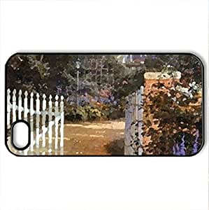 Country Cottage - Case Cover for iPhone 4 and 4s (Houses Series, Watercolor style, Black)