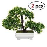 Fashionwu Bonsai Tree Mini Artificial Plant, Not Faded Office Home Decoration (2 Pcs Green)