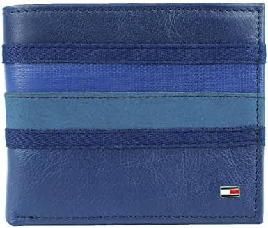New Tommy Hilfiger Men's Leather Double Billfold Passcase Wallet & Valet / Cobalt