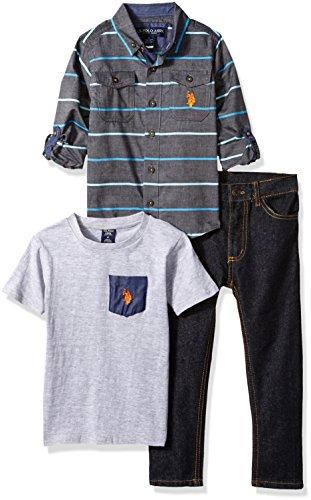 U.S. Polo Assn. Boys Little Long Sleeve, T-Shirt and Pant Set