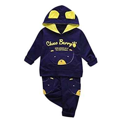 2Pcs Outfits Infant Toddler Baby Boys Cartoon Hooded Pocket Top +Long Pants Clothes Set
