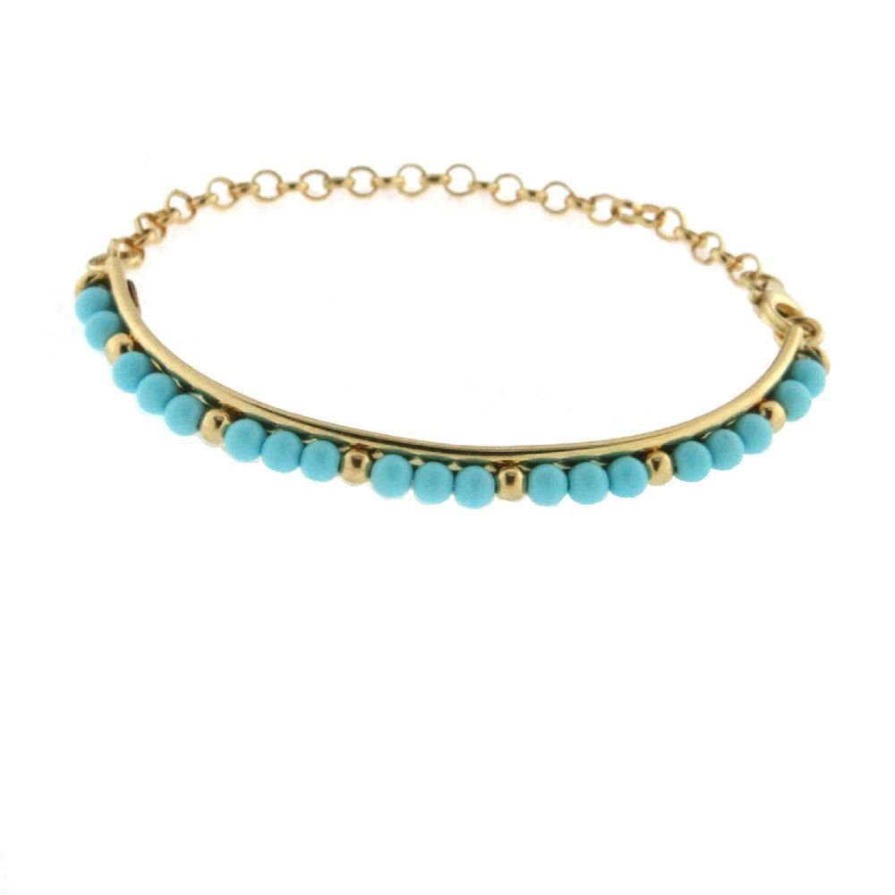 18K Yellow Gold Turquoise paste Beads Half Bangle Bracelet for Babies, 5.25 inches