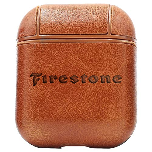 - Logo Firestone TIRE (Vintage Brown) Engraved Air Pods Protective Leather Case Cover - a New Class of Luxury to Your AirPods - Premium PU Leather and Handmade exquisitely by Master Craftsmen