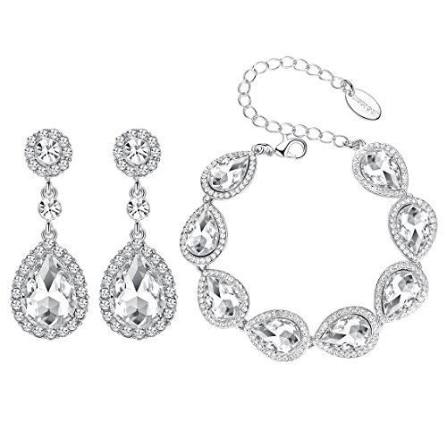 mecresh Flower Teardrop Clear Austrian Crystal Jewelry Sets for Women or Bridesmaids(1 Set Earring,1PCS Bracelet) (Elegant Bridal Bracelet)