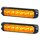 amber led grill strobe lights - WOWTOU Amber Warning Grill Light Head, IP67 Waterproof Surface Mounts Mini Strobe Light 6W 6 LEDs 18 Patterns for POV, Utility Vehicle, Construction Vehicle, Tow Truck Van (2 Pack)