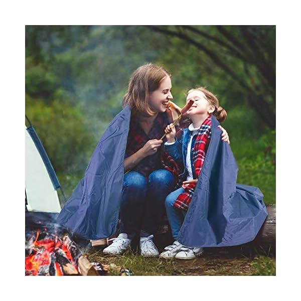 51ZrogPN3hL ZOMAKE Warme Fleece-Outdoor-Decke wasserdichte Leichte Campingdecke für das Winterpicknick (Hellgrau und Dunkelblau)