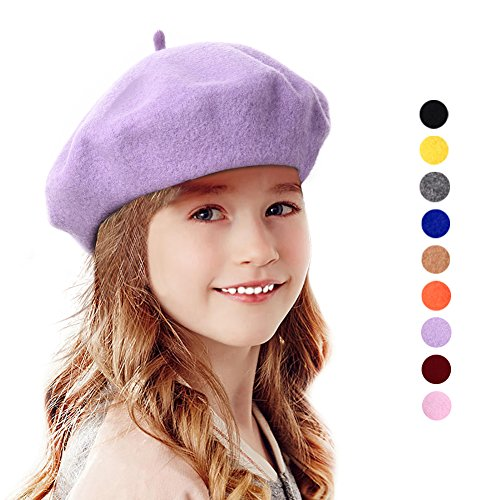 Bonaweite French Wool Berets Hat Classic Fashion Warm Beanie Cap for Girls Violet