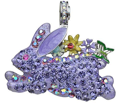 Kirks Folly Run Away Bunny Magnetic Enhancer (Silvertone) Lavender Easter Bunny