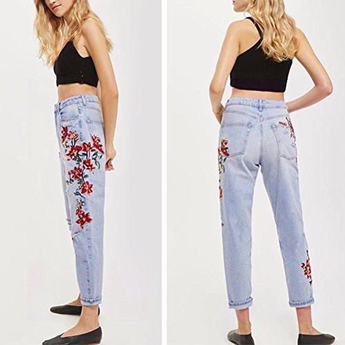 Mezclilla Pierna Recta Pantalones Ladies Tela Azul Claro Ripeado Bordado Pantalones Flor Mujeres Zhhlinyuan Novio Trousers wZq8tgt