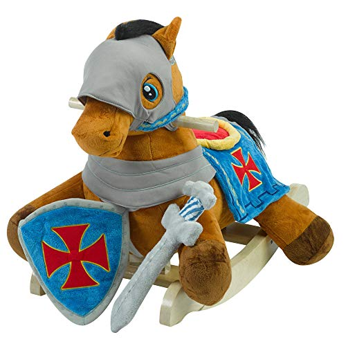 Rockabye Furniture Baby (Knight's Horse Play and Rock | Horse Plush Butterfly Baby Toy with Wooden Rocking Chiar Horse/Kid Rocking Toy/Baby Rocking Horse/Rocker/Animal Ride)