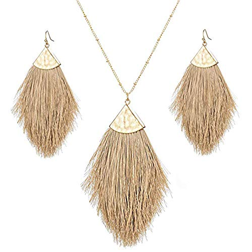 Tassel Fringe Earrings Necklaces Set for Women Boho Statement Colorful Thread Long Feather Shape Jewelry Sets Brown ()
