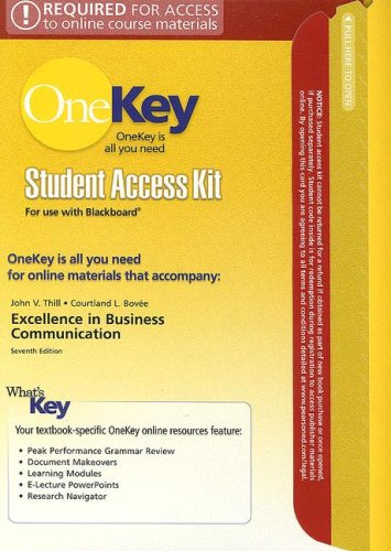 Excellence in Business Communication Student Access Kit for Use with Blackboard (OneKey) pdf epub