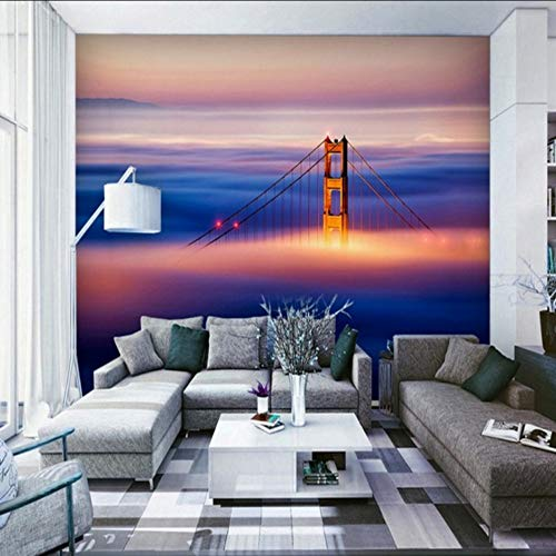 xbwy Custom 3D Wallpaper Magnificent Oil Painting Chain Bridge Living Room Tv Hotel Decoration Backdrop Wall Wallpaper Murals-200X140Cm
