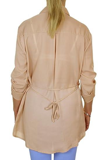 ICE (4061-3 y Beige Bellas Georgette Camisa con Decorativos Zips Oro Mujeres: Amazon.es: Ropa y accesorios