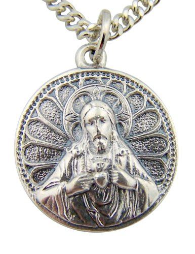 (Silver Toned Base Scapular Sacred Heart Jesus Our Lady of Mt Carmel Medal, 7/8 Inch)