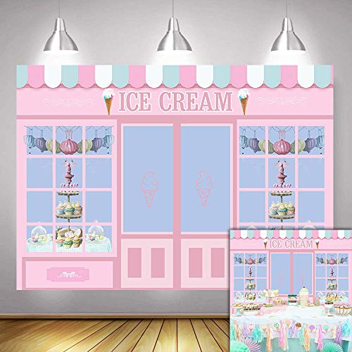 Fanghui 7x5FT Ice Cream Party Backdrop Cute Pink Photo Studio Parlor Door Window Cake Princess Birthday Party Banner Wallpaper Photography Backdrops for Picture