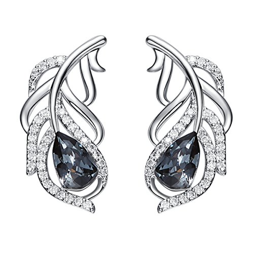 YOURDORA Ear Crawler Earrings for Women 925 Sterling Silver Pierced Earrings Peacock Feather Stud made with Black Crystal from Swarovski Nickel Free