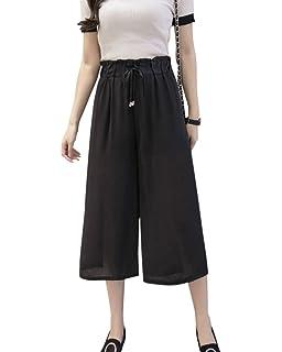 ca040f6be72 Quge Women Casual High Waist Wide Leg Chiffon Pants Drawstring Waist Crop  3 4 Trousers